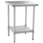 "24""W x 24""D 14-gauge/304 Stainless Top Worktable with Marine Counter Edge and 4 Galvanized Legs and Undershelf, #SMS-88-T2424EM"