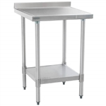 "24""W x 24""D 14-gauge/304 Stainless Top Worktable with Backsplash and Marine Edge, 4 Galvanized Legs and Undershelf, #SMS-88-T2424EM-BS"