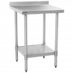 "24"" x 24"" 14/304 Stainless Steel Top Worktable; Backsplash, Galvanized Legs and Undershelf - Spec-Master® Marine Series with 4 Legs. (Features Marine Counter Edge To, #SMS-88-T2424EM-BS"
