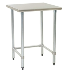 "24"" x 24"" 14/304 Stainless Steel Top Worktable; Flat Top and Galvanized Tubular Base - Spec-Master® Series with 4 Legs, #SMS-88-T2424GTE"