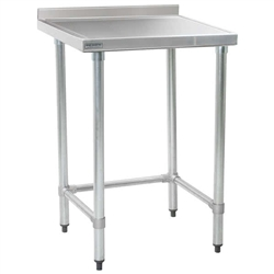 "24"" x 24"" 14/304 Stainless Steel Top Worktable; Backsplash and Stainless Steel Tubular Base - Spec-Master® Marine Series with 4 Legs. (Features Marine Counter Edge To, #SMS-88-T2424GTEM-BS"