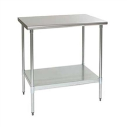 "24"" x 24"" 16/304 Stainless Steel Top Worktable; Flat Top, Stainless Steel Legs and Undershelf - Deluxe Series with 4 Legs, #SMS-88-T2424SEB"