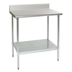 "24"" x 24"" 16/304 Stainless Steel Top Worktable; Backsplash, Stainless Steel Legs and Undershelf - Deluxe Series with 4 Legs, #SMS-88-T2424SEB-BS"