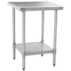 "24"" x 24"" 14/304 Stainless Steel Top Worktable; Flat Top, Stainless Steel Legs and Undershelf - Spec-Master® Marine Series with 4 Legs. (Features Marine Counter Edge To, #SMS-88-T2424SEM"