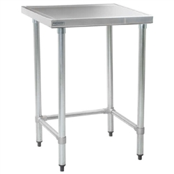 "24"" x 24"" 14/304 Stainless Steel Top Worktable; Flat Top and Stainless Steel Tubular Base - Spec-Master® Marine Series with 4 Legs. (Features Marine Counter Edge To, #SMS-88-T2424STEM"