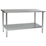 "30""W x 24""D 14-gauge/304 Stainless Steel Top Worktable; Flat Top, with 4 Galvanized Legs and Undershelf, #SMS-88-T2430E"