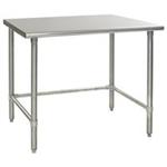 "30""W x 24""D 16-gauge/430 Stainless Steel Top Worktable; Flat Top, with 4 Galvanized Tubular Legs, #SMS-88-T2430GTB"