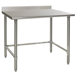 "30""W x 24""D 14-gauge/304 Stainless Steel Top Worktable; Backsplash, with 4 Galvanized Tubular Legs, #SMS-88-T2430GTE-BS"