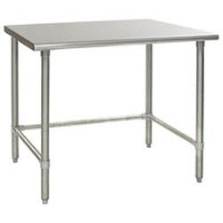 "24"" x 30"" 16/304 Stainless Steel Top Worktable; Flat Top and Galvanized Tubular Base - Deluxe Series with 4 Legs, #SMS-88-T2430GTEB"