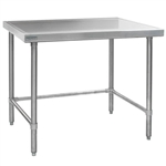"30""W x 24""D 14-gauge/304 Stainless Top Worktable with Marine Counter Edge and 4 Galvanized Tubular Legs, #SMS-88-T2430GTEM"