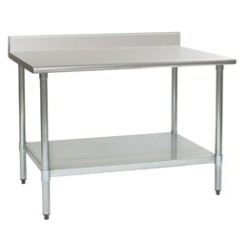 "24"" x 30"" 16/304 Stainless Steel Top Worktable; Backsplash, Stainless Steel Legs and Undershelf - Deluxe Series with 4 Legs, #SMS-88-T2430SEB-BS"