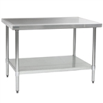 "30""W x 24""D 14-gauge/304 Stainless Top Worktable with Marine Counter Edge and 4 Stainless Legs and Undershelf , #SMS-88-T2430SEM"