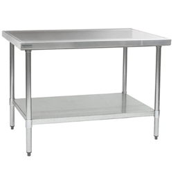 "24"" x 30"" 14/304 Stainless Steel Top Worktable; Flat Top, Stainless Steel Legs and Undershelf - Spec-Master® Marine Series with 4 Legs. (Features Marine Counter Edge To, #SMS-88-T2430SEM"