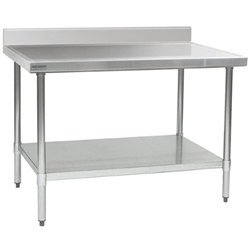 "24"" x 30"" 14/304 Stainless Steel Top Worktable; Backsplash, Stainless Steel Legs and Undershelf - Spec-Master® Marine Series with 4 Legs. (Features Marine Counter Edge To, #SMS-88-T2430SEM-BS"