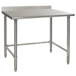 "24"" x 30"" 16/304 Stainless Steel Top Worktable; Backsplash and Stainless Steel Tubular Base - Deluxe Series with 4 Legs, #SMS-88-T2430STEB-BS"