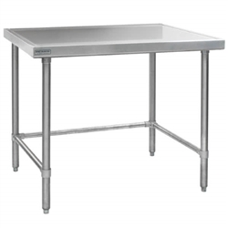 "24"" x 30"" 14/304 Stainless Steel Top Worktable; Flat Top and Stainless Steel Tubular Base - Spec-Master® Marine Series with 4 Legs. (Features Marine Counter Edge To, #SMS-88-T2430STEM"