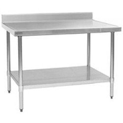 "24"" x 36"" 14/304 Stainless Steel Top Worktable; Backsplash, Galvanized Legs and Undershelf - Spec-Master® Marine Series with 4 Legs. (Features Marine Counter Edge To, #SMS-88-T2436EM-BS"