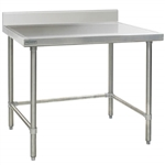 "36""W x 24""D 14-gauge/304 Stainless Top Worktable with Backsplash and Marine Edge, 4 Stainless Tubular Legs, #SMS-88-T2436GTEM-BS"