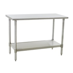 "36""W x 24""D 16-gauge/430 Stainless Steel Top Worktable; Flat Top, with 4 Stainless Steel Legs and Undershelf, #SMS-88-T2436SB"