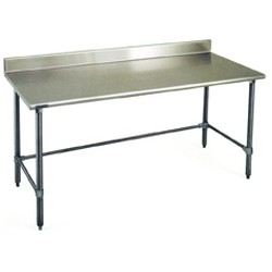 "24"" x 36"" 14/304 Stainless Steel Top Worktable; Backsplash and Stainless Steel Tubular Base - Spec-Master® Series with 4 Legs, #SMS-88-T2436STE-BS"