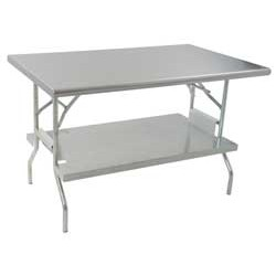 "24"" x 48"" Lok-N-Fold Stainless Steel Table with Removable Stainless Steel Undershelf, 360 Lbs Weight Capacity, #SMS-88-T2448F-USS"