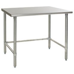 "24"" x 48"" 16/304 Stainless Steel Top Worktable; Flat Top and Stainless Steel Tubular Base - Deluxe Series with 4 Legs, #SMS-88-T2448STEB"