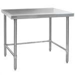 "60""W x 24""D 14-gauge/304 Stainless Top Worktable with Marine Counter Edge and 4 Galvanized Tubular Legs, #SMS-88-T2460GTEM"