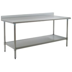 "60""W x 24""D 16-gauge/430 Stainless Steel Top Worktable; Backsplash, with 4 Stainless Steel Legs and Undershelf, #SMS-88-T2460SB-BS"