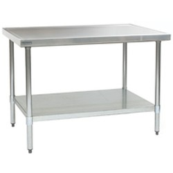 "24"" x 72"" 14/304 Stainless Steel Top Worktable; Flat Top, Galvanized Legs and Undershelf - Spec-Master® Marine Series with 4 Legs. (Features Marine Counter Edge To, #SMS-88-T2472EM"