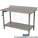 Cranking Adjustable Stainless Table | Sanitary Workstation