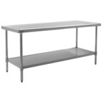 "72""W x 24""D 14-gauge/304 Stainless Top Worktable with Marine Counter Edge and 4 Stainless Legs and Undershelf , #SMS-88-T2472SEM"