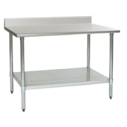"84""W x 24""D 14-gauge/304 Stainless Steel Top Worktable; Backsplash, with 4 Galvanized Legs and Undershelf, #SMS-88-T2484E-BS"