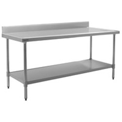 "24"" x 84"" 14/304 Stainless Steel Top Worktable; Backsplash, Stainless Steel Legs and Undershelf - Spec-Master® Marine Series with 4 Legs. (Features Marine Counter Edge To, #SMS-88-T2484SEM-BS"