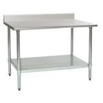 "30""W x 24""D 16-gauge/430 Stainless Steel Top Worktable; Backsplash, with 4 Galvanized Legs and Undershelf, #SMS-88-T2430B-BS"