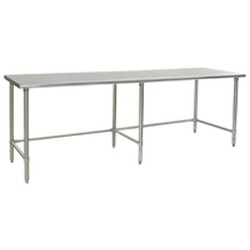 "30"" x 108"" 16/304 Stainless Steel Top Worktable; Flat Top and Galvanized Tubular Base - Deluxe Series with 6 Legs, #SMS-88-T30108GTEB"