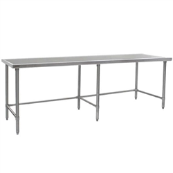 "30"" x 108"" 14/304 Stainless Steel Top Worktable; Flat Top and Galvanized Tubular Base - Spec-Master® Marine Series with 6 Legs. (Features Marine Counter Edge To, #SMS-88-T30108GTEM"