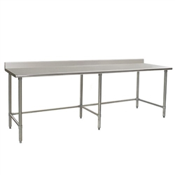 "108""W x 30""D 16-gauge/430 Stainless Steel Top Worktable; Backsplash, with 6 Stainless Steel Tubular Legs, #SMS-88-T30108STB-BS"