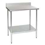 "30""W x 30""D 16-gauge/430 Stainless Steel Top Worktable; Backsplash, with 4 Galvanized Legs and Undershelf, #SMS-88-T3030B-BS"