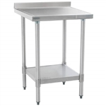 "30""W x 30""D 14-gauge/304 Stainless Top Worktable with Backsplash and Marine Edge, 4 Galvanized Legs and Undershelf, #SMS-88-T3030EM-BS"