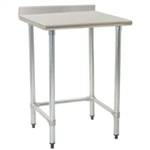 "30""W x 30""D 14-gauge/304 Stainless Steel Top Worktable; Backsplash, with 4 Galvanized Tubular Legs, #SMS-88-T3030GTE-BS"