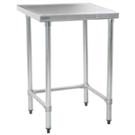 "30""W x 30""D 14-gauge/304 Stainless Top Worktable with Marine Counter Edge and 4 Galvanized Tubular Legs, #SMS-88-T3030GTEM"