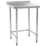 "30""W x 30""D 14-gauge/304 Stainless Top Worktable with Backsplash and Marine Edge, 4 Stainless Tubular Legs, #SMS-88-T3030GTEM-BS"