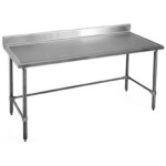 "36""W x 30""D 14-gauge/304 Stainless Top Worktable with Backsplash and Marine Edge, 4 Stainless Tubular Legs, #SMS-88-T3036GTEM-BS"