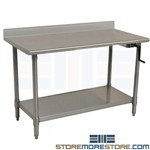 Stainless Adjustable Bench | Ergonomic Height Crank Table