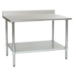 "60""W x 30""D 14-gauge/304 Stainless Steel Top Worktable; Backsplash, with 4 Galvanized Legs and Undershelf, #SMS-88-T3060E-BS"