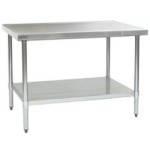 "60""W x 30""D 14-gauge/304 Stainless Top Worktable with Marine Counter Edge and 4 Galvanized Legs and Undershelf, #SMS-88-T3060EM"