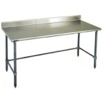 "60""W x 30""D 16-gauge/430 Stainless Steel Top Worktable; Backsplash, with 4 Galvanized Tubular Legs, #SMS-88-T3060GTB-BS"