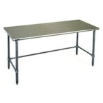 "60""W x 30""D 14-gauge/304 Stainless Top Worktable with Marine Counter Edge and 4 Galvanized Tubular Legs, #SMS-88-T3060GTEM"