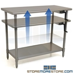 Stainless Table Adjustable Height | Kitchen Prep Workbench