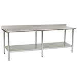 "120""W x 36""D 14-gauge/304 Stainless Steel Top Worktable; Backsplash, with 6 Stainless Steel Legs and Undershelf, #SMS-88-T36120SE-BS"